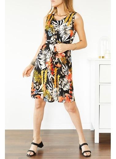 XHAN Multi Çiçek Desenli Kolsuz Elbise 0Yxk6-43856-02 Renkli